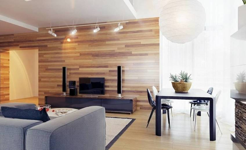 Neutral living room wood clad walls