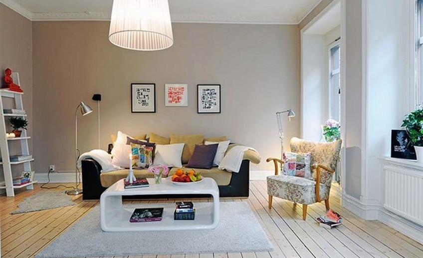 Scandinavian style design in modern room design with modern lamp and beautifull ornament