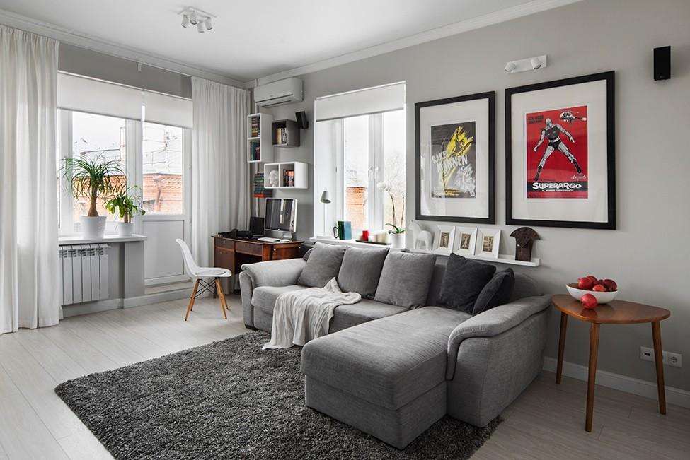 Интерьер квартиры в серых цветах