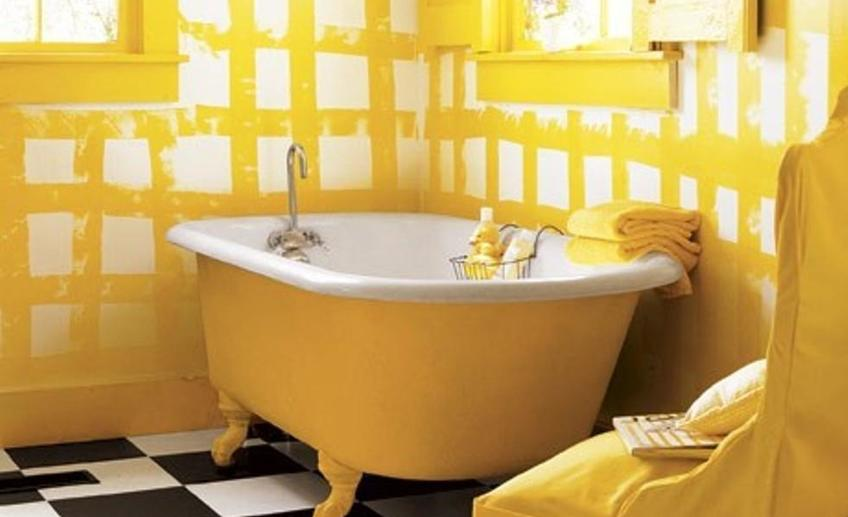 Contemporary yellow bathroom