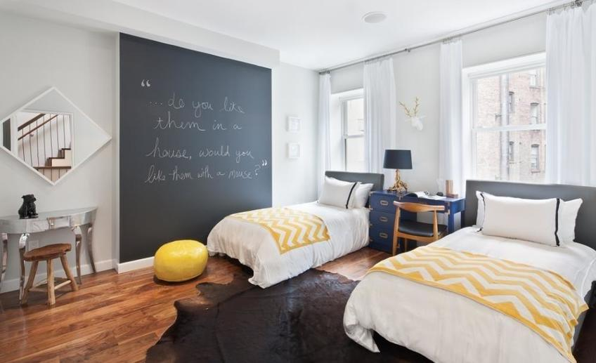 Contemporary kids bedroom with throw blanket and chalkboard paint i g is529ybsko8oct0000000000 y1qrv