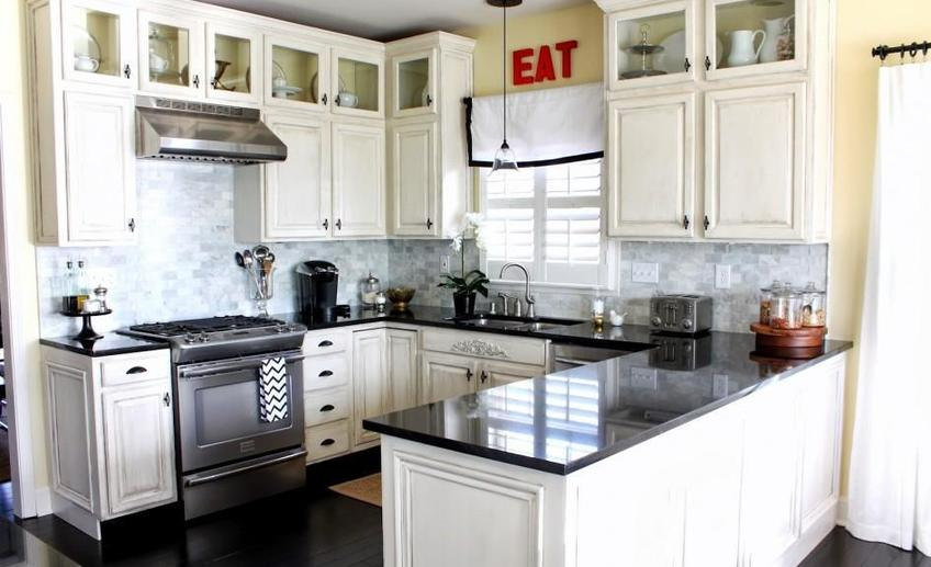 Cool black and white kitchen window valance also marble countertop idea feat cute glass pendant light for sink
