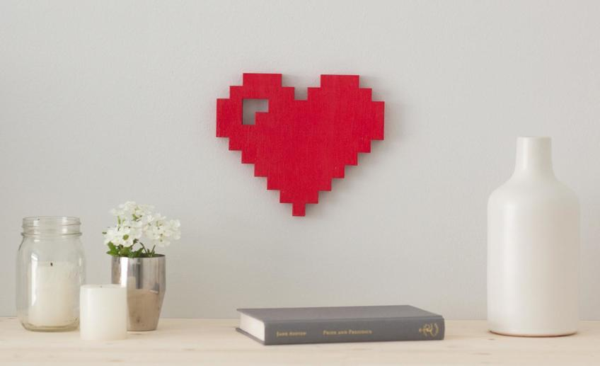 Wordbilly 8 bit pixel heart billy wooden sign 1