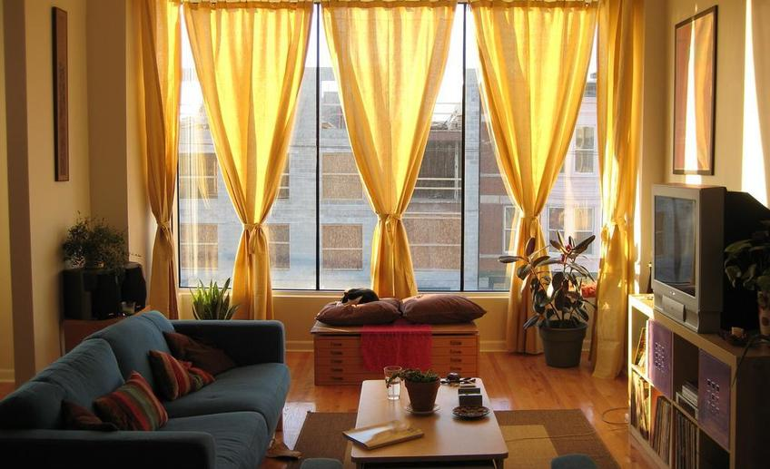 Amazing new modern curtain for small living room design ideas 2014 contemporary yellow color curtains with wood vanity cabinets ideas