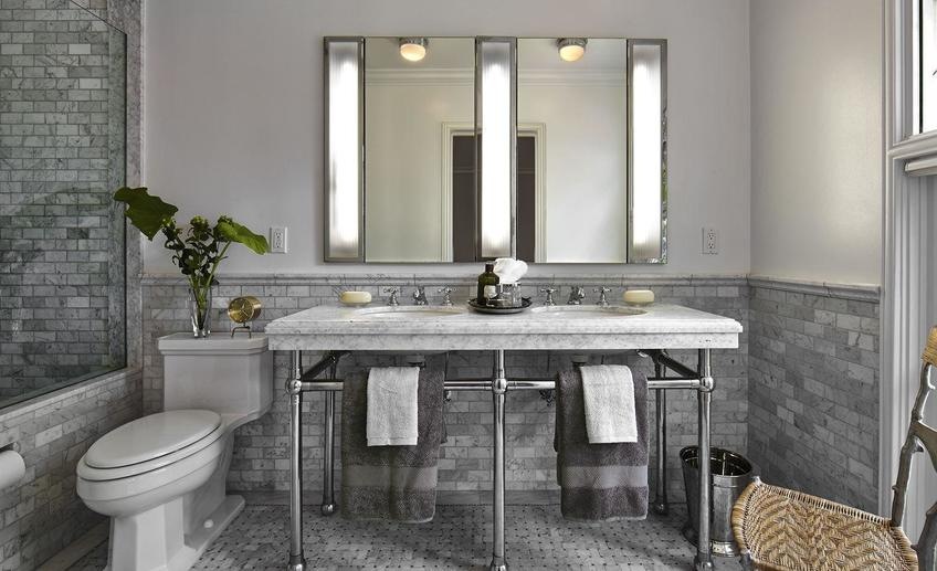 Grey marble bathrooms