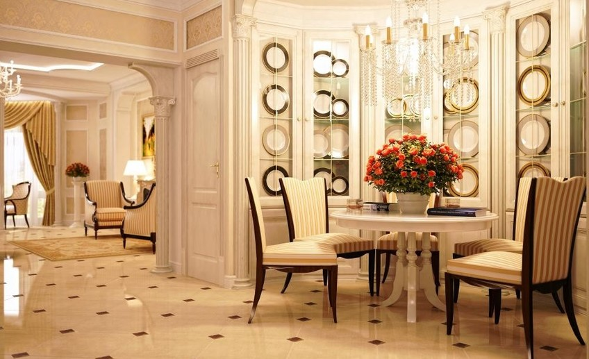 Traditional dining room with marble floors i g is176cruyo6wnb1000000000 wxsiu