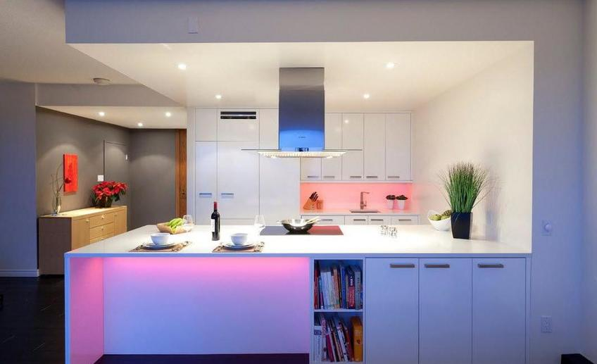 Stunning led lights in the kitchen design under cabinet also bookcase under kitchen island as well white gray painting wall