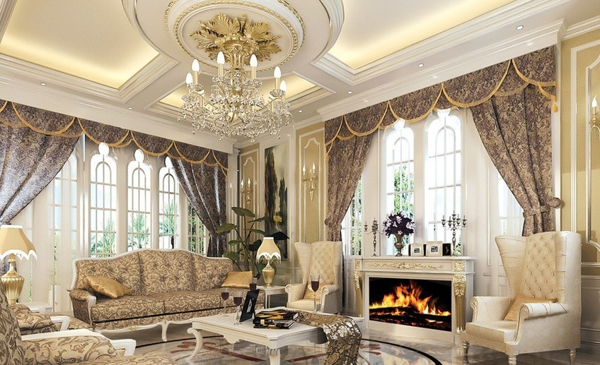 Luxury pop false ceiling designs for luxury living room with fireplace