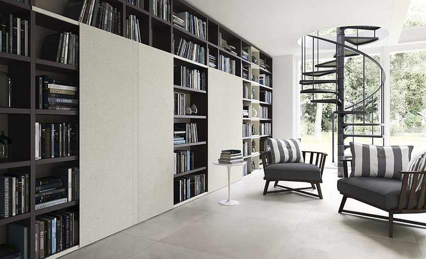 Transform your living room into a home library in style