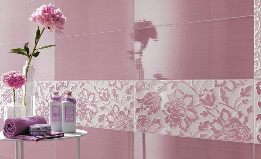 Плитка в ванную комнату розовая с цветами 61