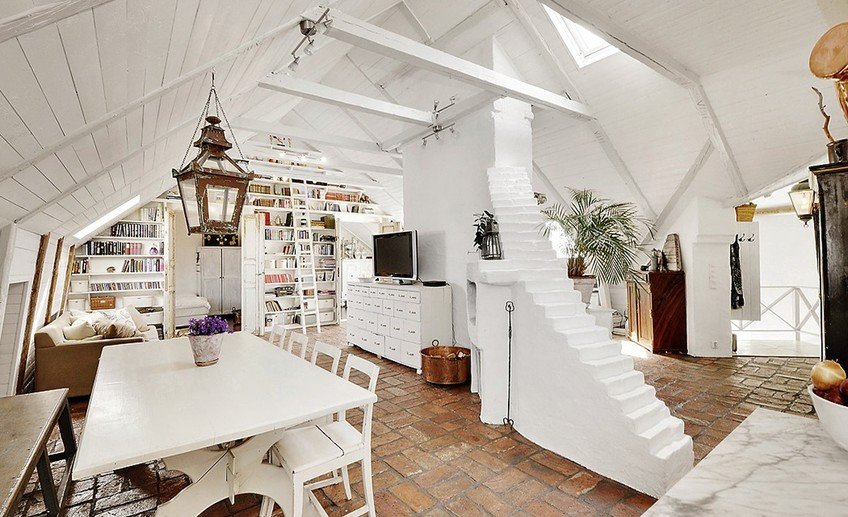 Usual attic apartment with shabby chic styles