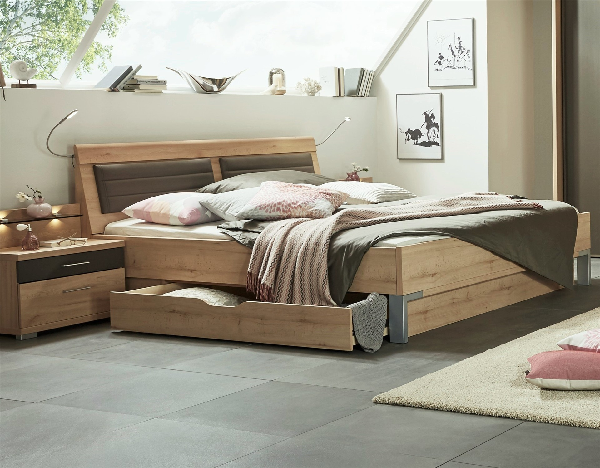 Stylform juno storage bed in bianco beech finish
