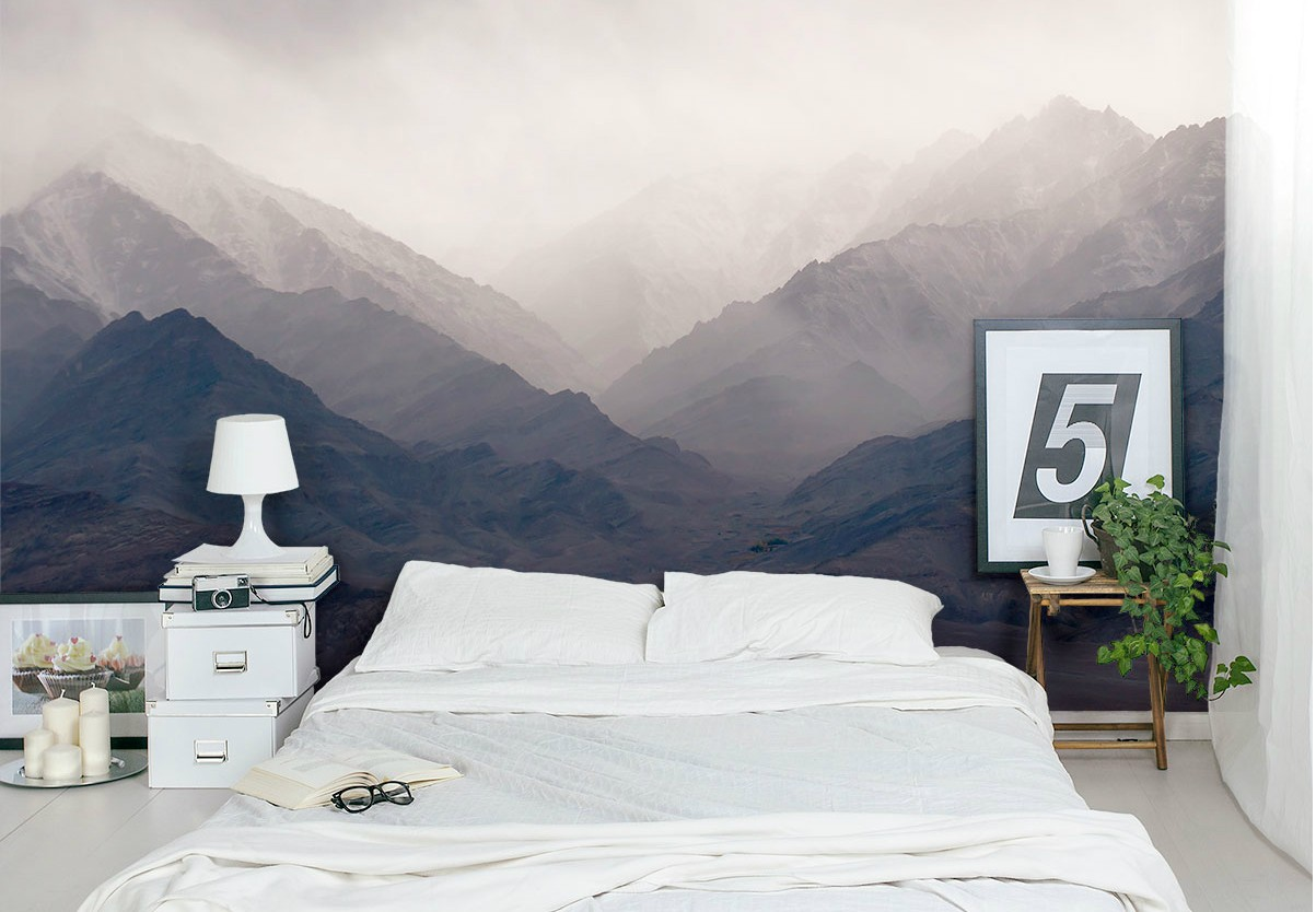 Misty mountains mural bedroom