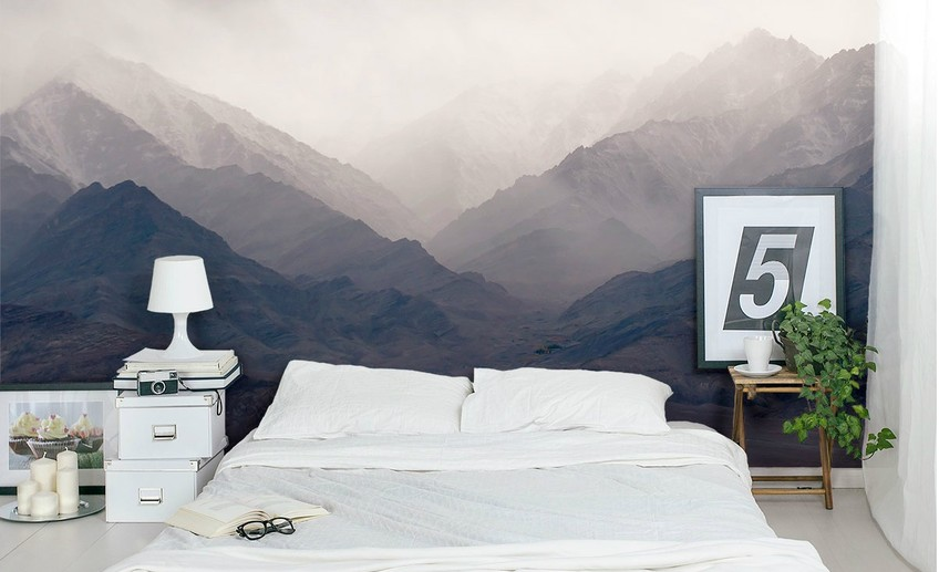 Usual misty mountains mural bedroom