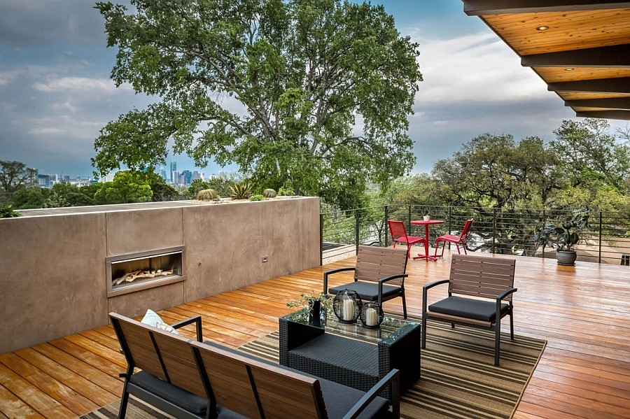 Lovely deck space outdoor lounge and fireplace encourage outdoor living