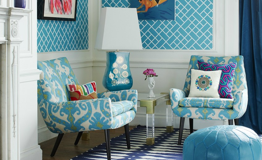 Usual 6 jonathan adler living room mrs godfrey chairs in marrakesh sea ikat linen bamboo reverse wallpaper in teal and white lifestyle portrait