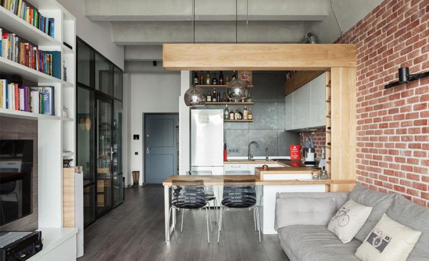 Кухня-гостиная в стиле лофт: инструкция по дизайну и обустройству