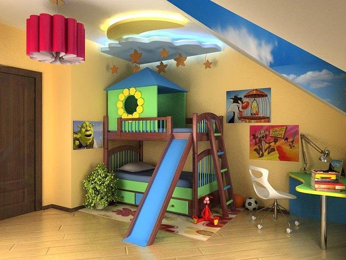 Детская комната домик с горкой турник между дверей