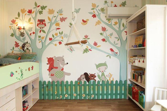 Дизайн стены своими руками в детской комнате 47