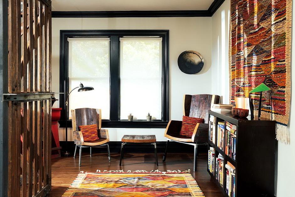 дом в Бирмингеме скандинавская мебель, африканский текстиль