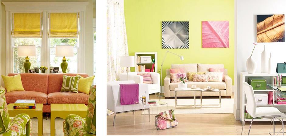 желтый и розовый в интерьере