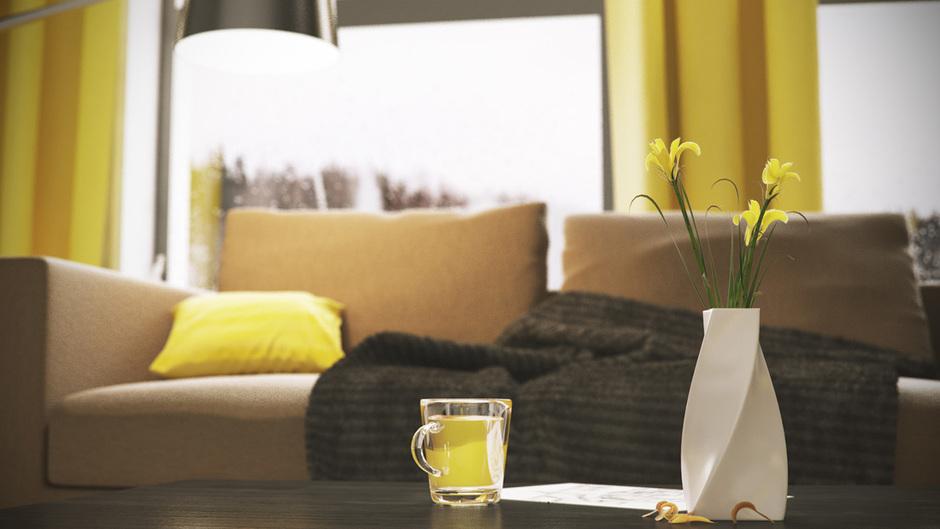 желтый в мужской квартире