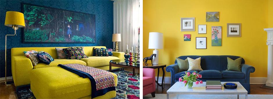 желтый и синий в интерьере