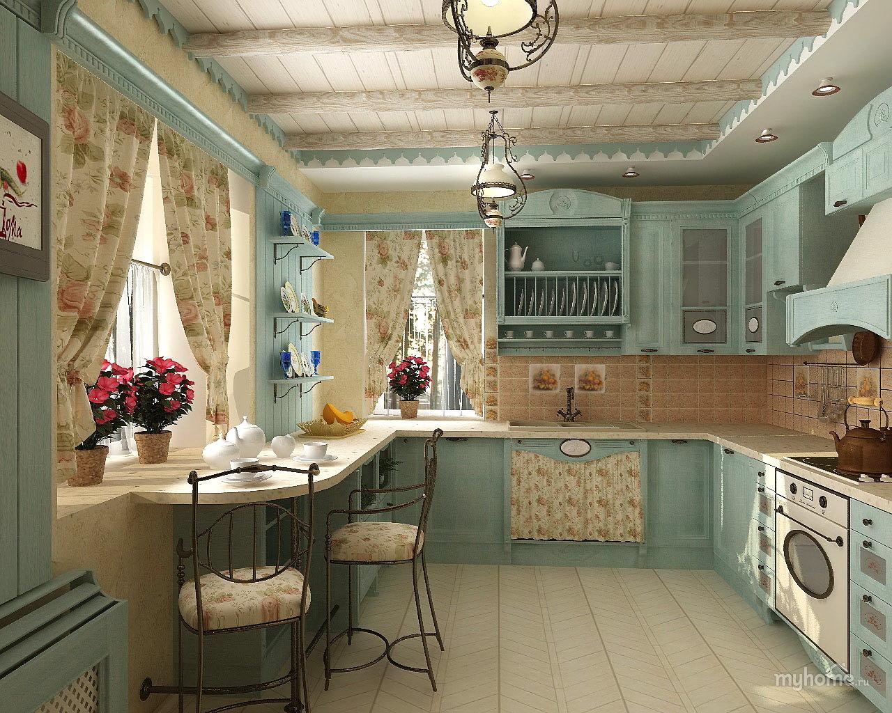 стиль прованс в интерьере квартиры кухня Vs спальня