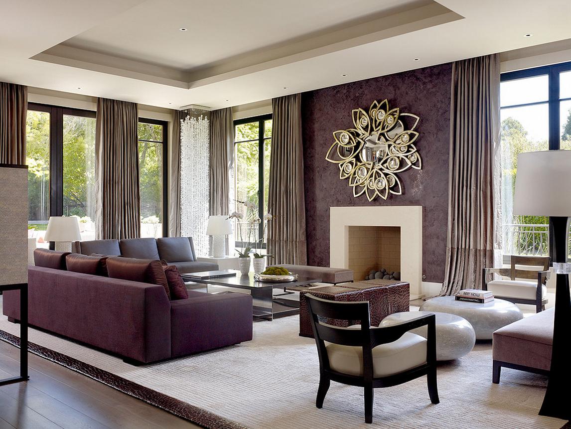 Интерьер гостиной декоративной штукатуркой в коричневых тонах фото