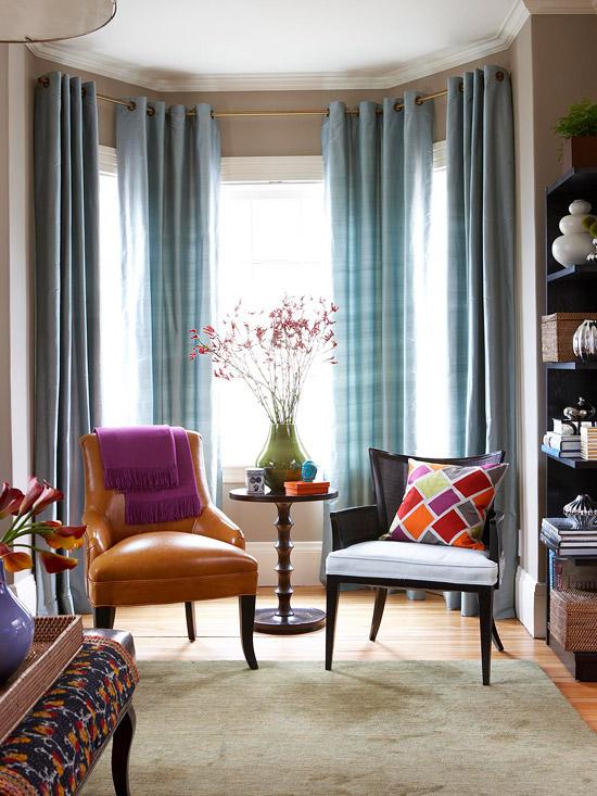 эркерные шторы на эркерные окна фото