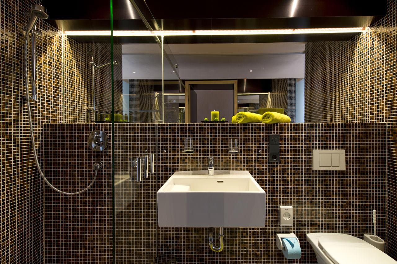 Дизайн ванной комнаты из мозаичной плитки