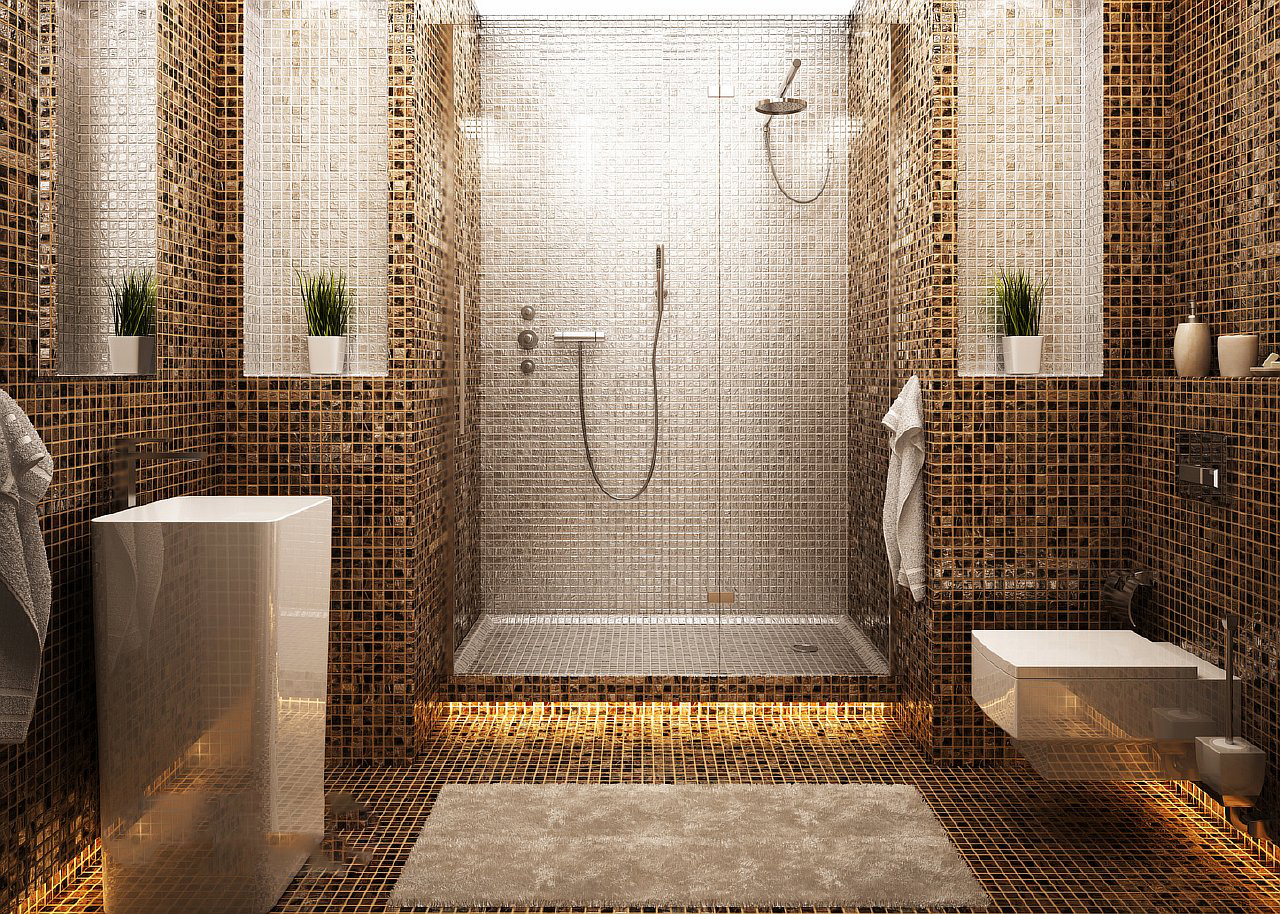 Дизайн ванной с плиткой под мозаику