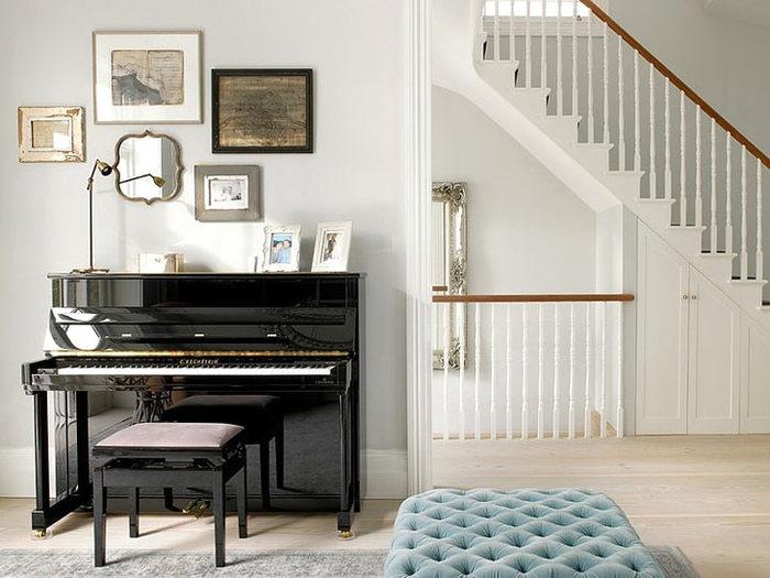Пианино черное в интерьере