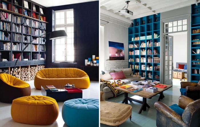 Гостиные со встроенными книжными шкафами: 20 примеров - вдох.