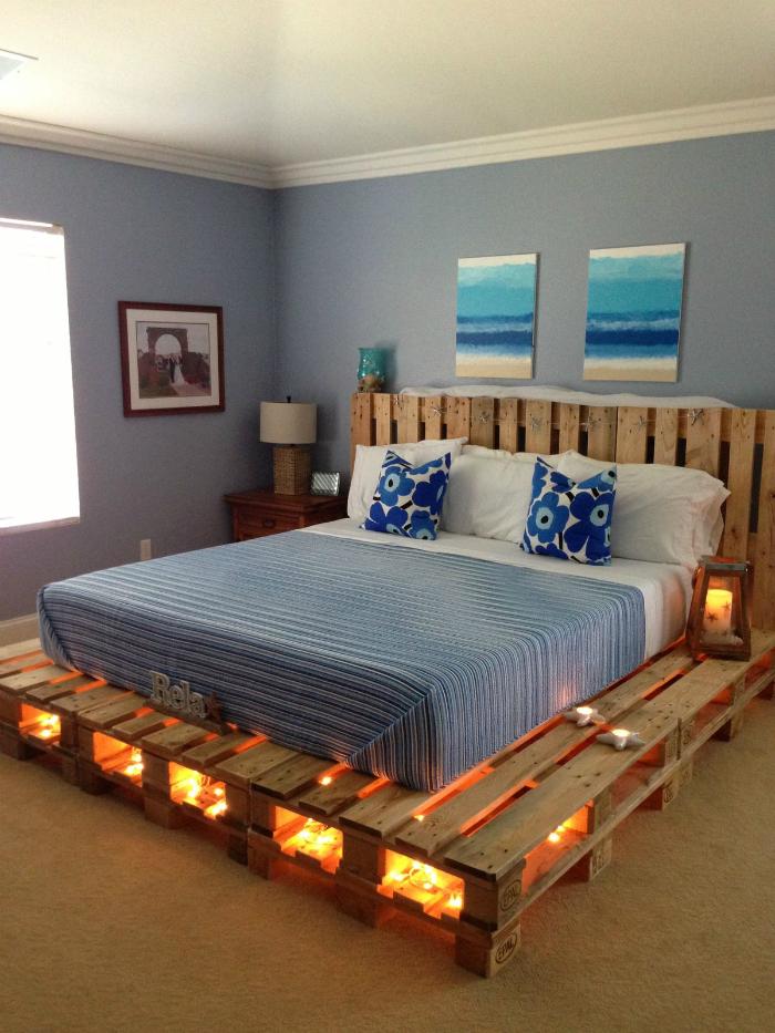 Кровать из деревянных поддонов своими руками - Интерьерный свет