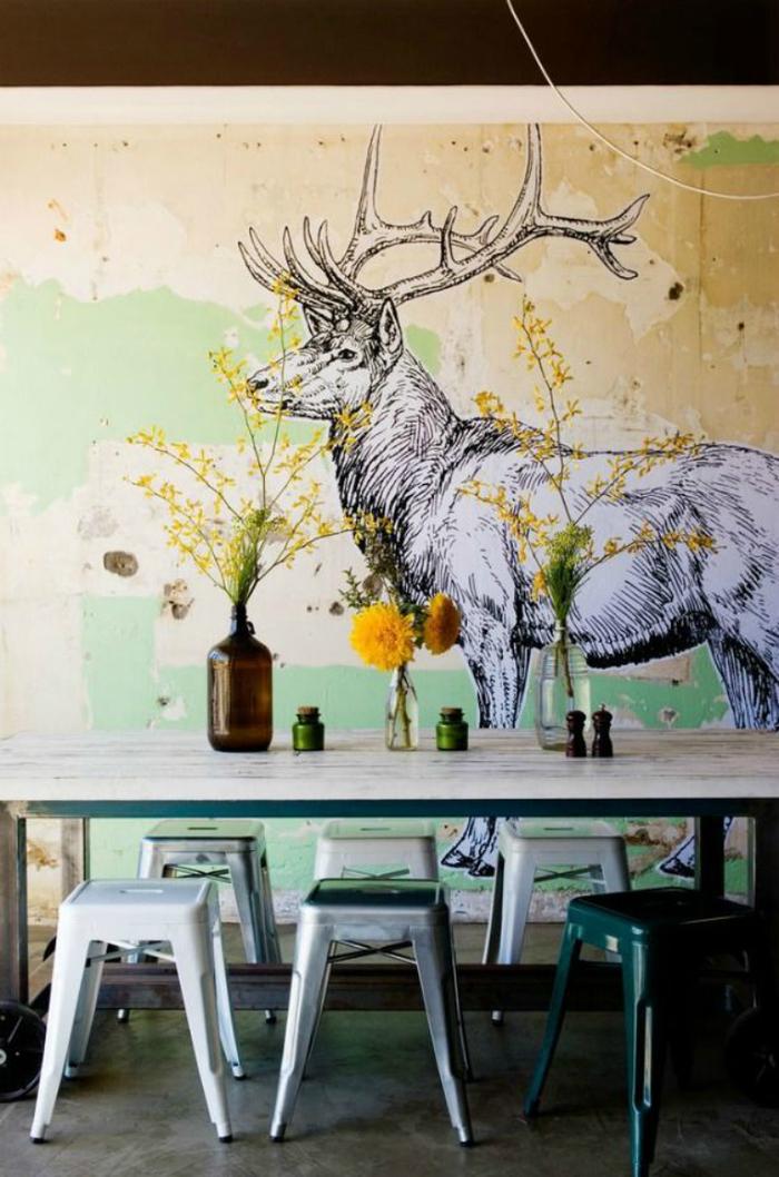 Роспись стен в кухне своими руками 61