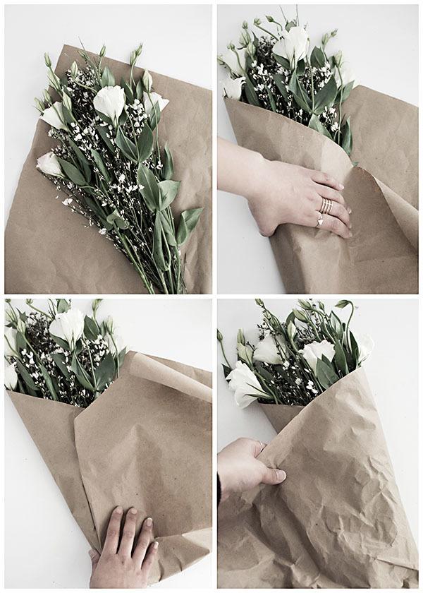 Как красиво упаковать цветы в крафт бумагу пошагово