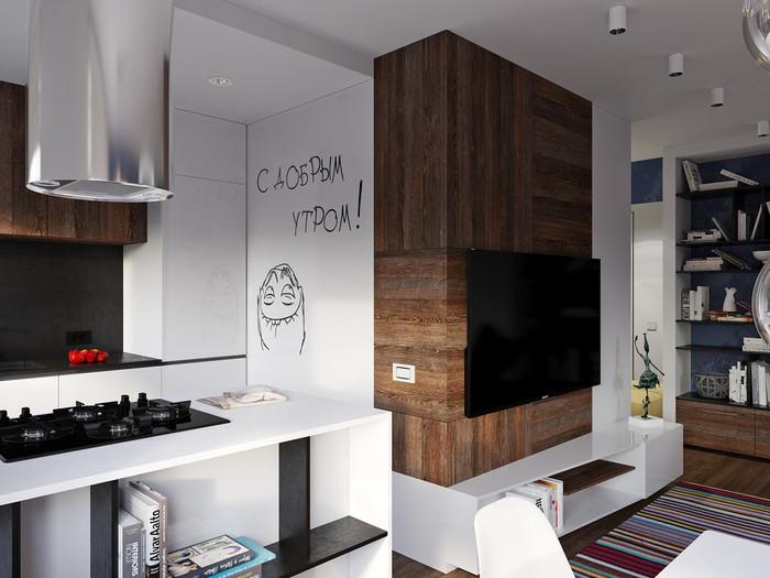 Дизайн студии 28 кв.м современный