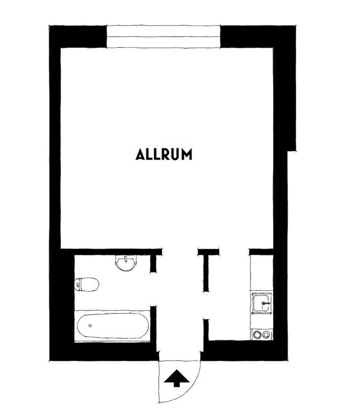 Светлая студия 22 м² с маленькой кухней